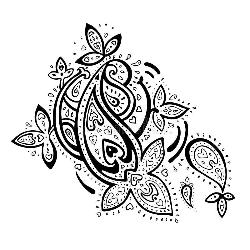 Ornamento tirado mão de Paisley. ilustração stock