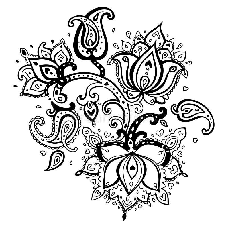 Ornamento tirado mão de Paisley. ilustração do vetor