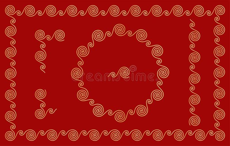 Ornamento tradicionais chineses Elementos sem emenda ajustados Vetor ilustração royalty free