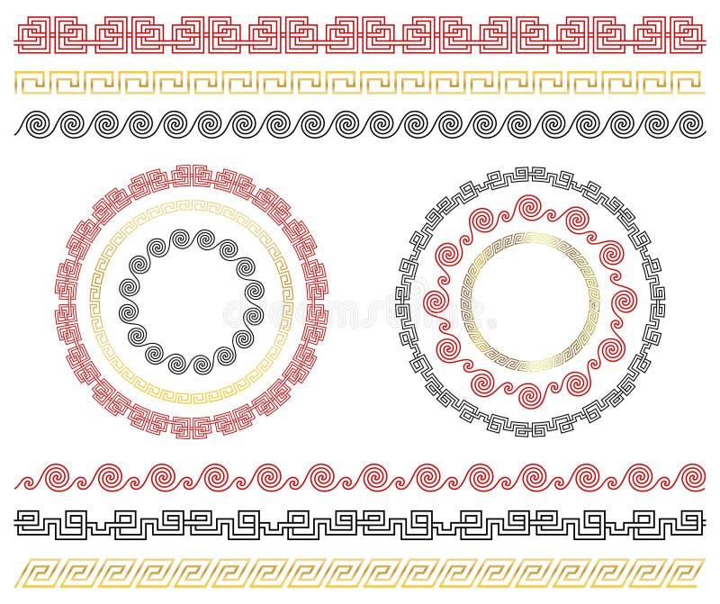 Ornamento tradicionais chineses Grupo de beiras e de quadros sem emenda ilustração royalty free