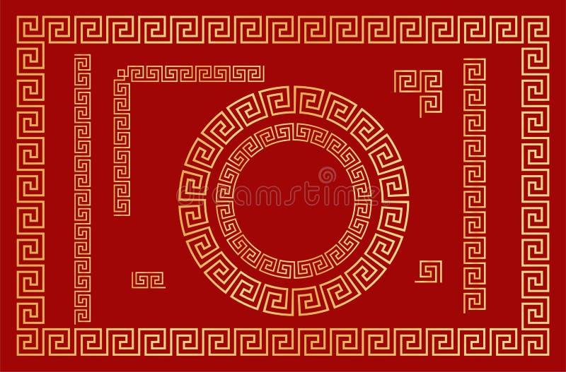 Ornamento tradicional chin?s Ajuste dos elementos sem emenda, dos quadros e dos quadros redondos Vetor ilustração stock