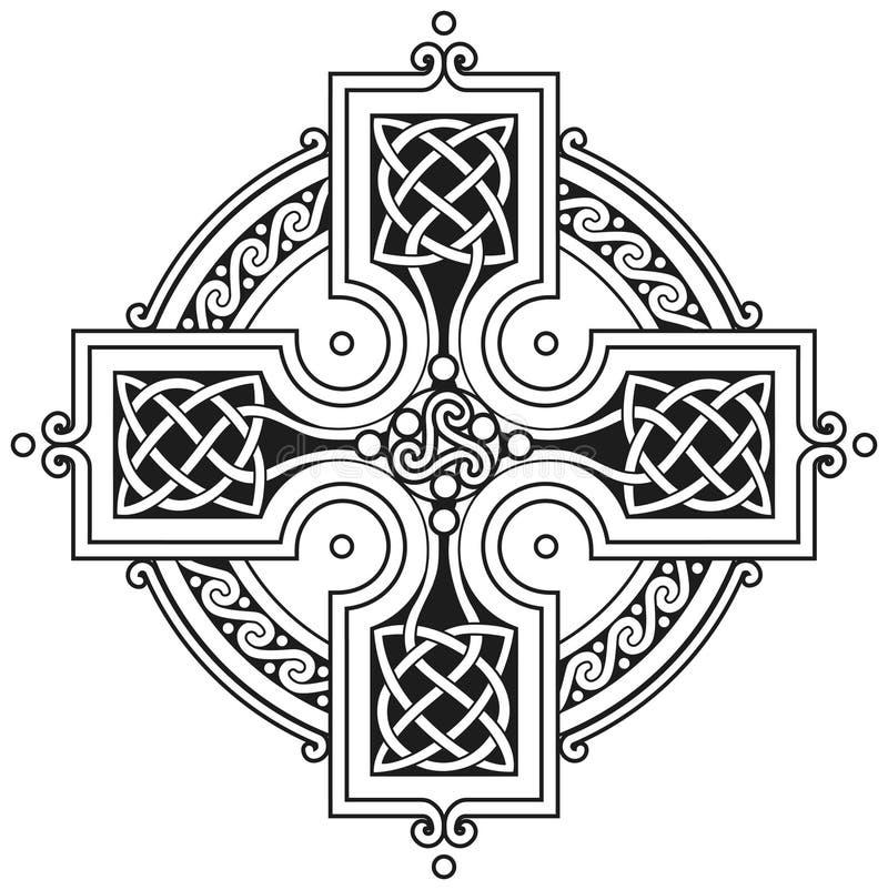 Ornamento tradicional da cruz celta do vetor ilustração stock