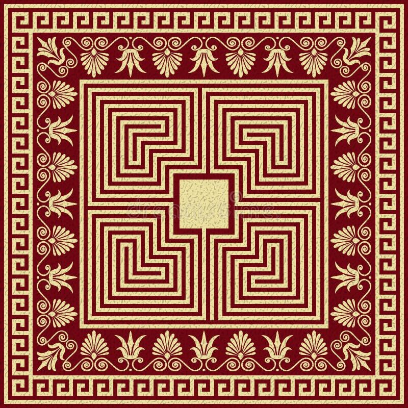 Ornamento tradicional del Griego del oro del vintage del vector stock de ilustración