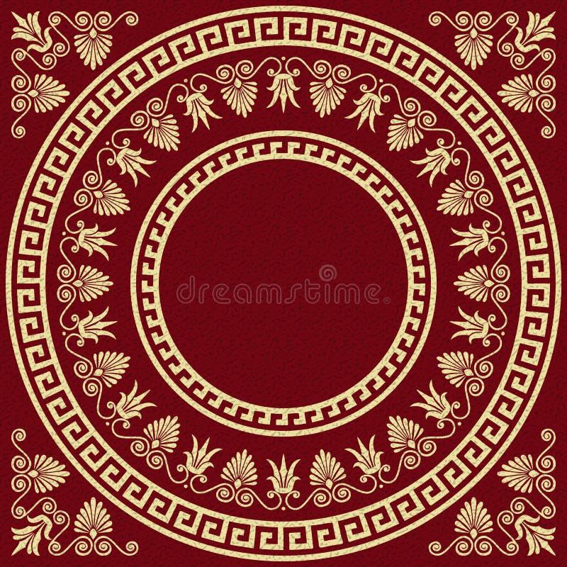 Ornamento tradicional del Griego del oro del vintage del vector ilustración del vector
