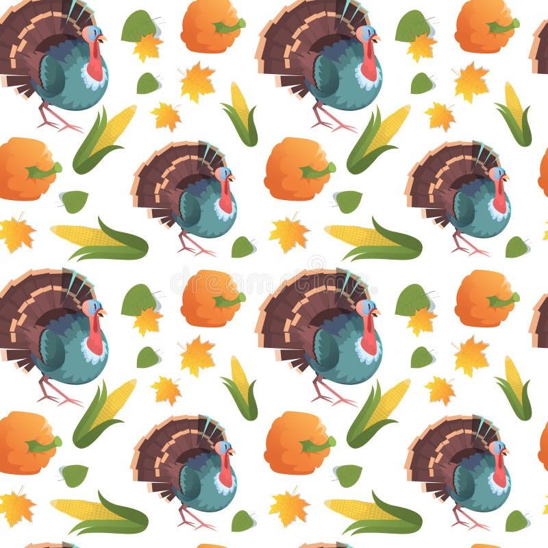 Ornamento tradizionale di festa di concetto di giorno di Autumn Seamless Pattern Happy Thanksgiving con la Turchia royalty illustrazione gratis