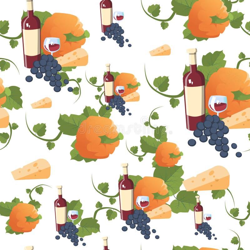 Ornamento tradizionale di festa del raccolto di concetto di giorno di Autumn Seamless Pattern Happy Thanksgiving royalty illustrazione gratis