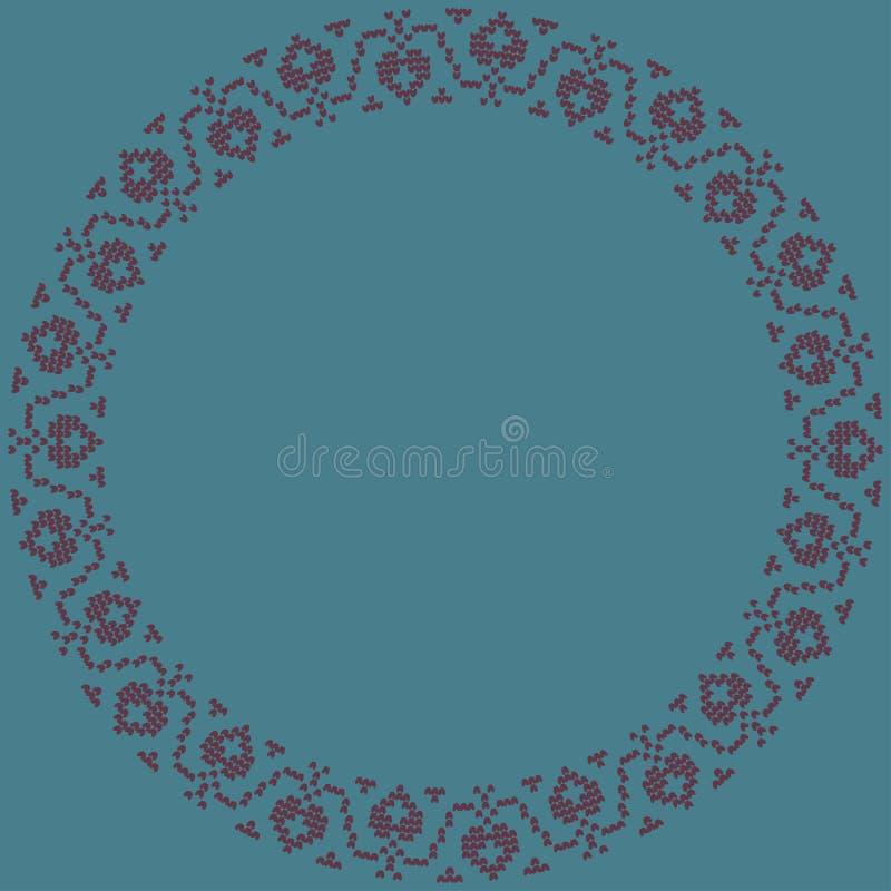 ornamento tradizionale norvegese Cornice rotonda con ornamento floreale illustrazione vettoriale