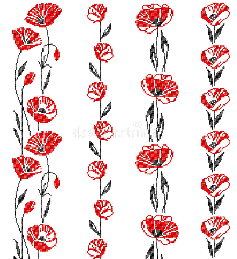 Ornamento transversal floral ilustração royalty free