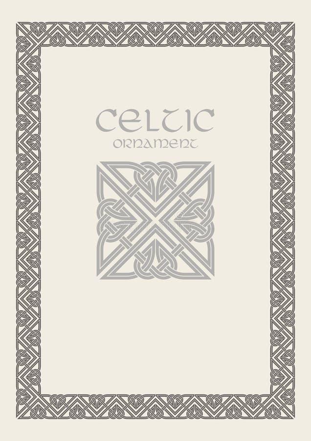 Ornamento trenzado de la frontera del marco del nudo céltico Tamaño A4 stock de ilustración