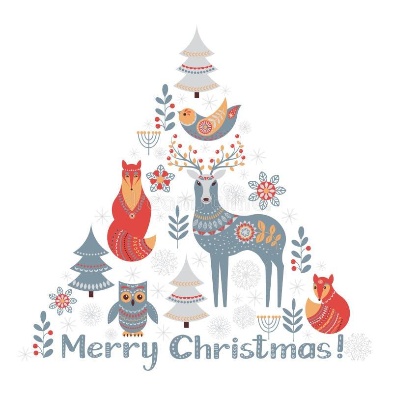 Ornamento triangular de la Navidad en estilo escandinavo stock de ilustración