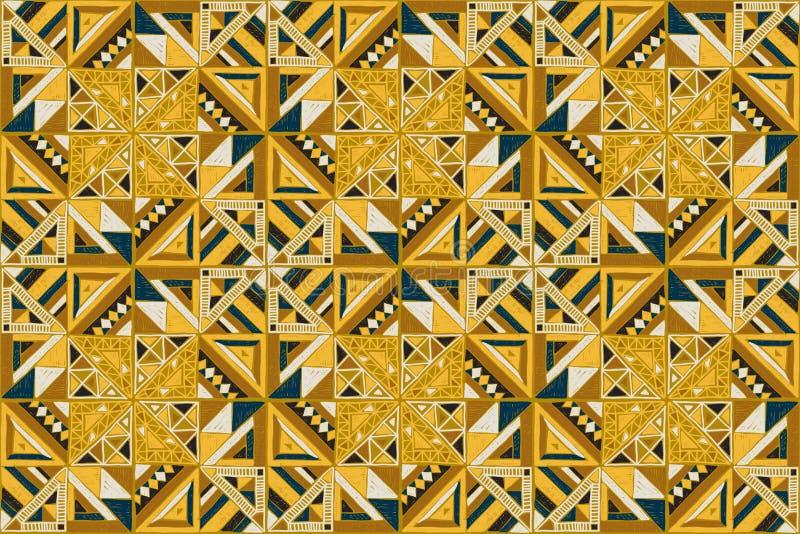 Ornamento tribale di vettore Reticolo africano senza giunte Progettazione etnica sul tappeto Stile azteco illustrazione vettoriale