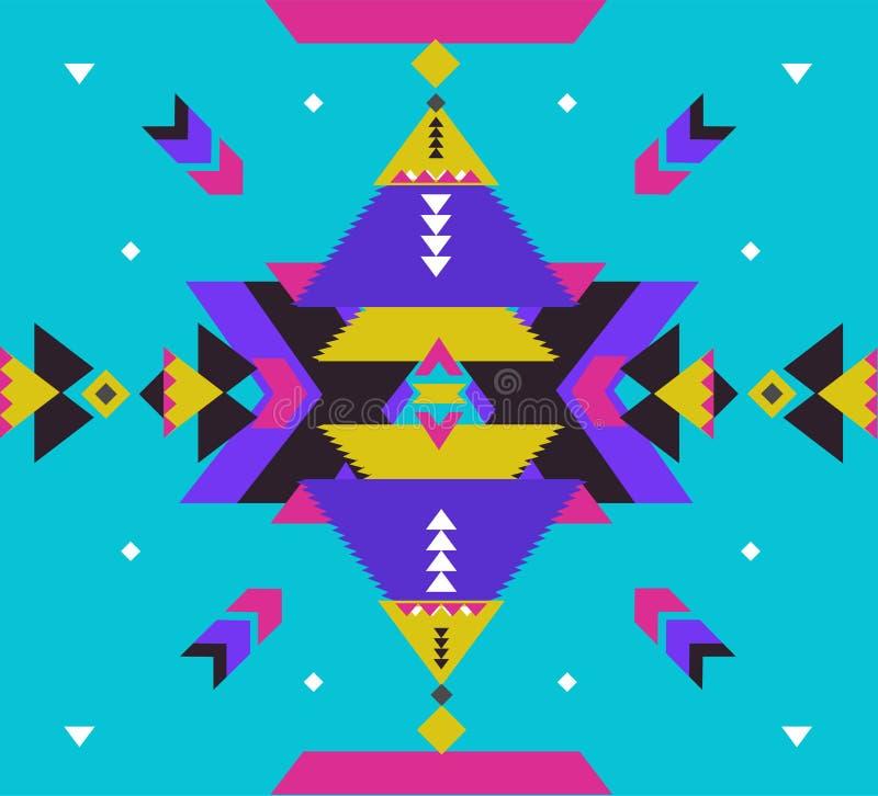 Ornamento tribale di vettore Reticolo africano senza giunte Tappeto etnico con i galloni ed i triangoli Stile azteco geometrico illustrazione vettoriale