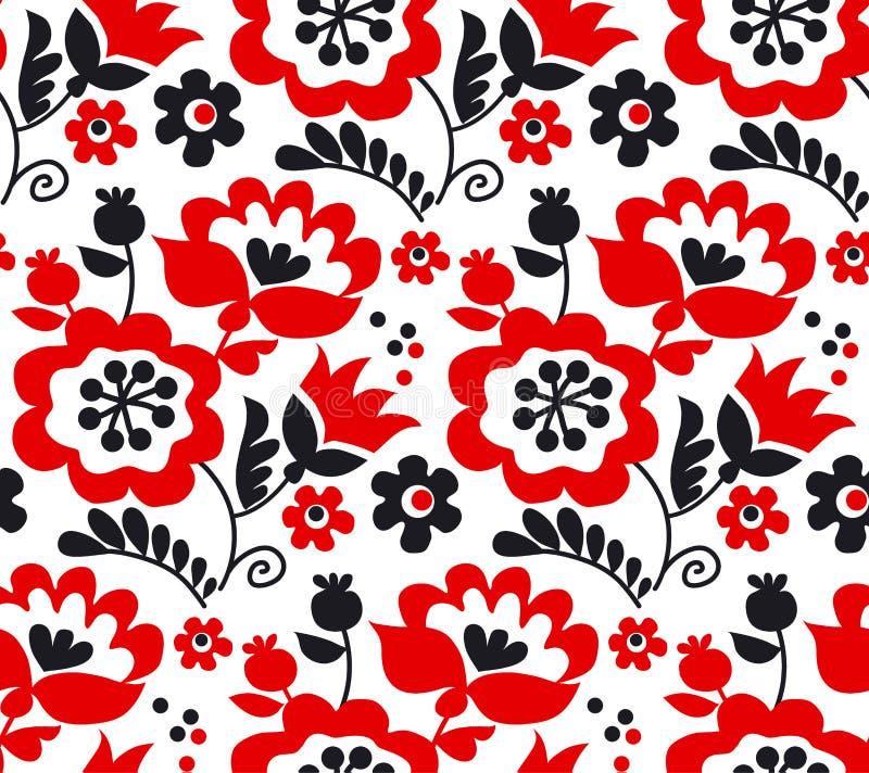 Ornamento ucraino europeo tradizionale di colore rosso illustrazione di stock