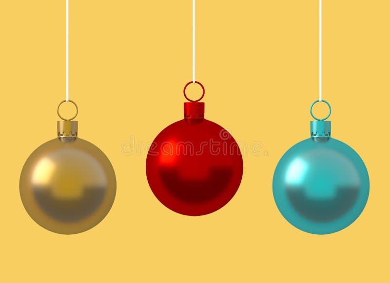 Ornamento variopinto della palla di Natale che appende sul fondo giallo Le linee brillanti rosse dorate dell'avvolgimento della d royalty illustrazione gratis