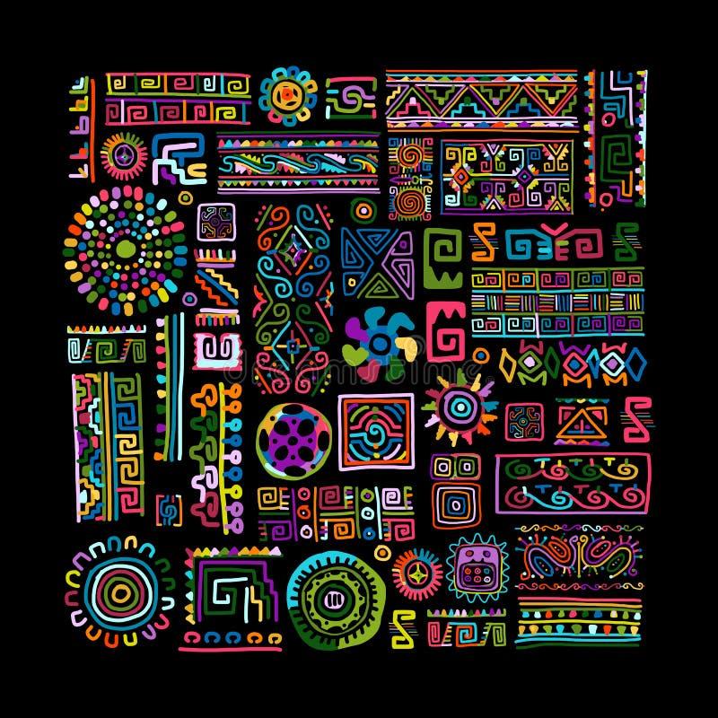 Ornamento variopinto fatto a mano etnico per la vostra progettazione illustrazione vettoriale
