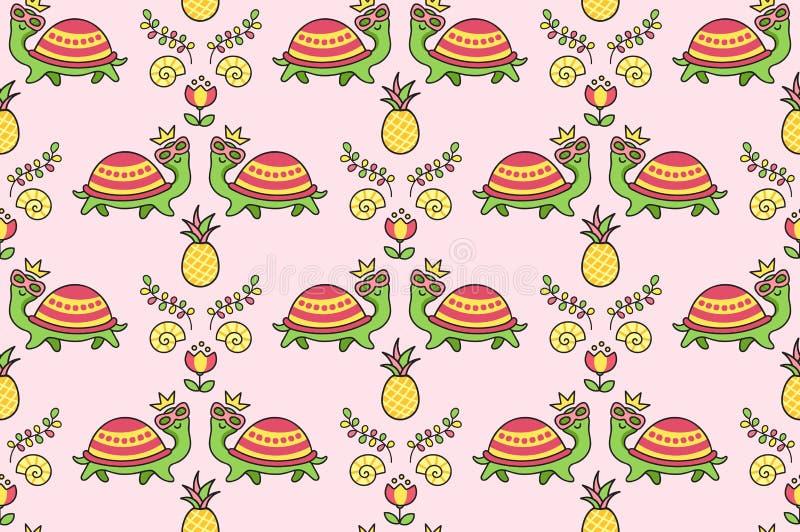 Ornamento variopinto tropicale con le tartarughe divertenti in occhiali da sole, conchiglia, fiori, ananas illustrazione di stock