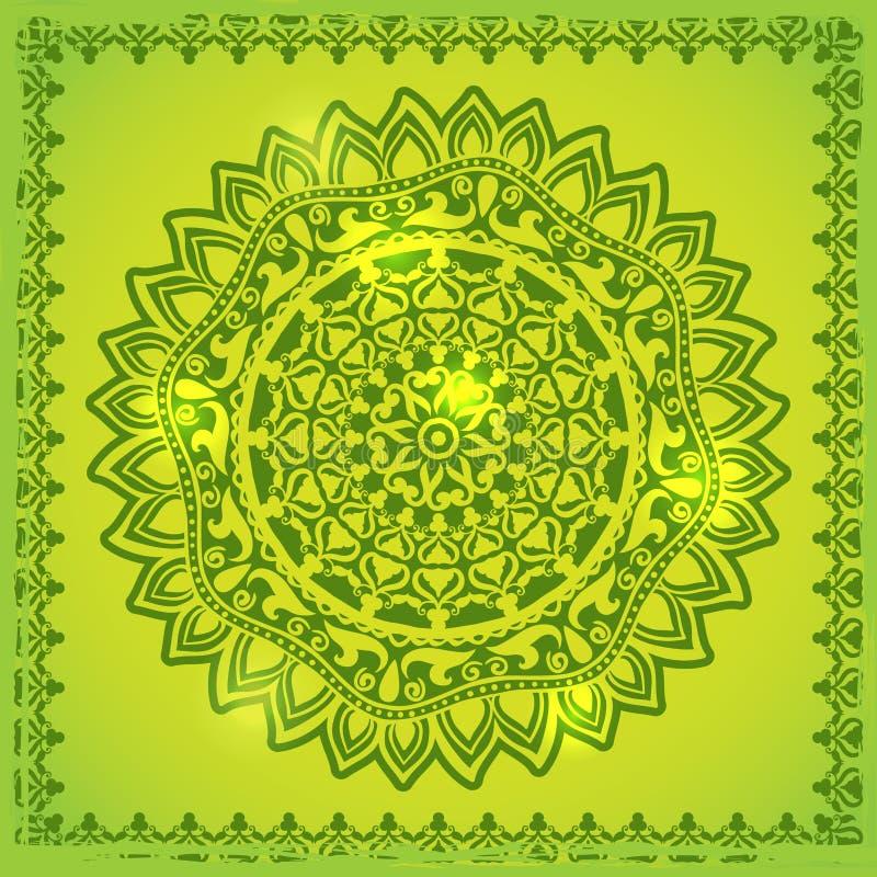 Ornamento verde del pizzo illustrazione vettoriale