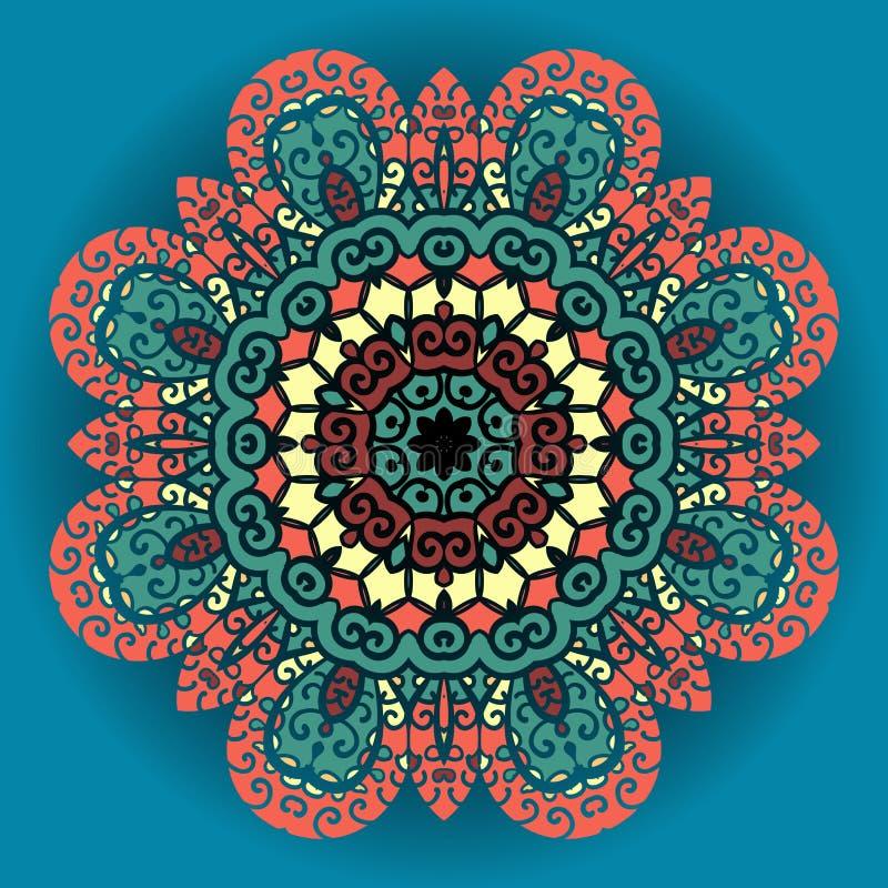 Ornamento verde e vermelho da mandala sobre o fundo dos azuis celestes ilustração do vetor