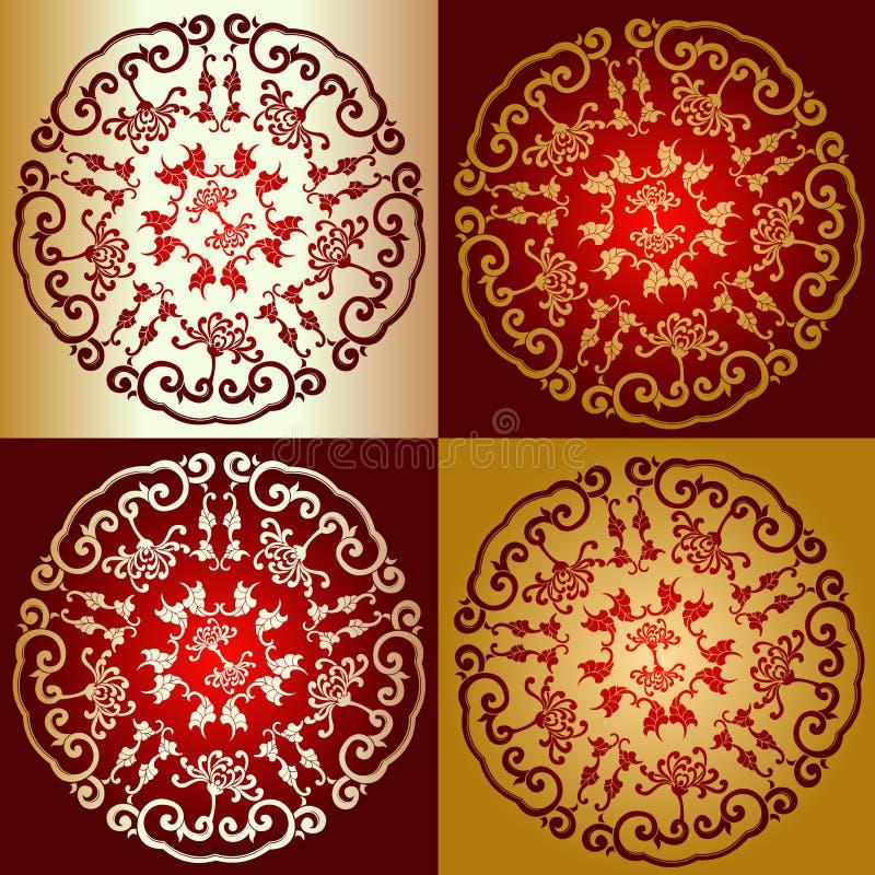 Ornamento vermelho do lombo do ouro ilustração do vetor