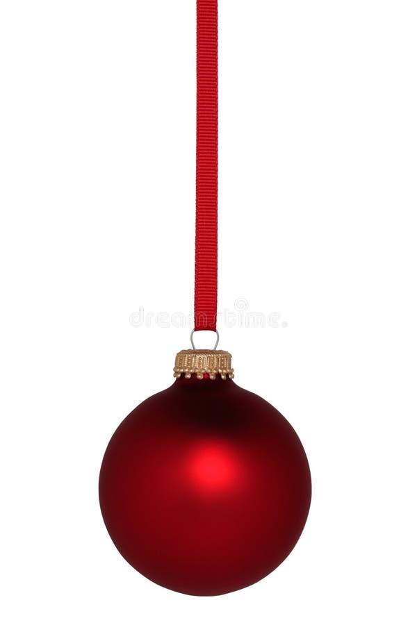 Ornamento vermelho do Natal da bola imagens de stock
