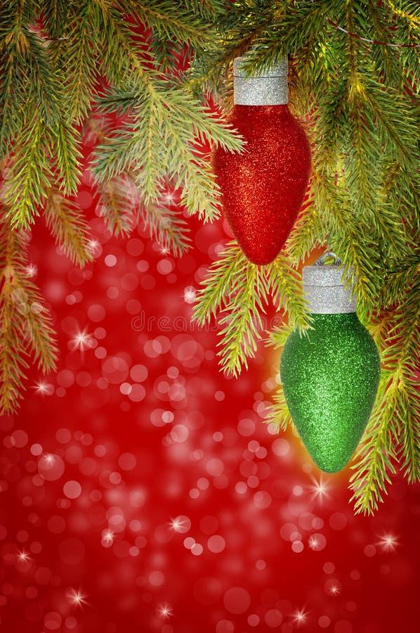 Ornamento vermelhos e verdes do Natal imagem de stock royalty free