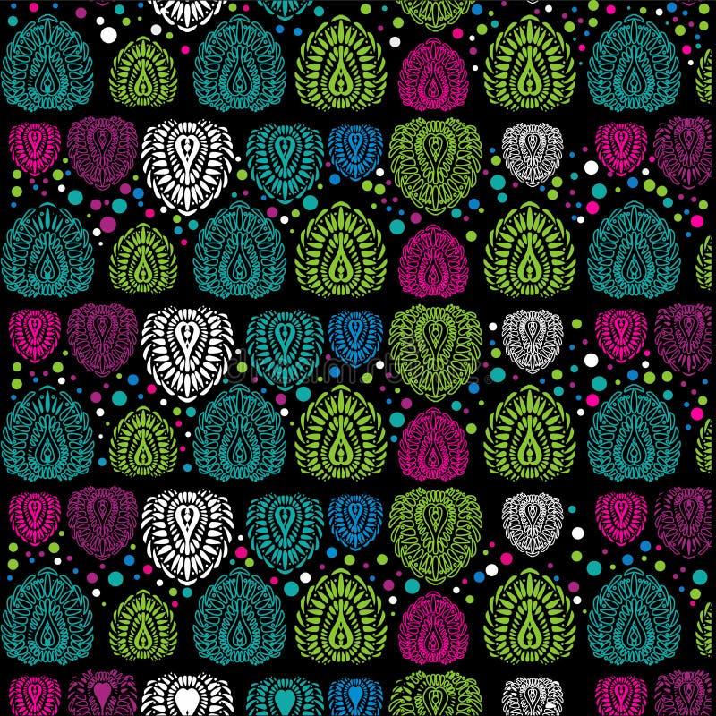 Ornamento vertical, plumas estilizadas de los óvalos stock de ilustración
