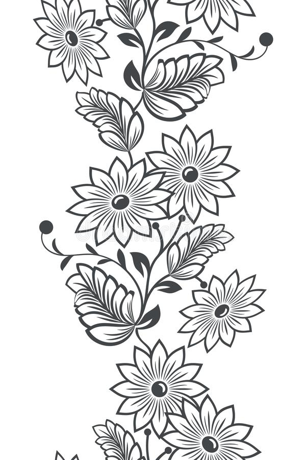 Ornamento vertical sem emenda da flor ilustração royalty free
