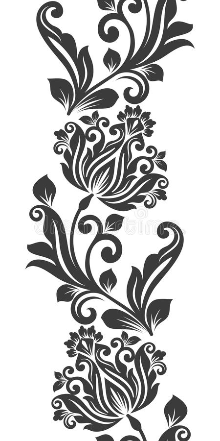 Ornamento verticale senza cuciture del fiore illustrazione vettoriale