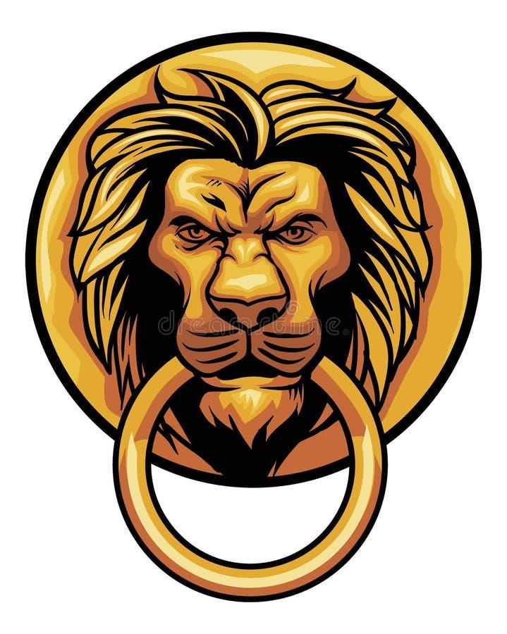 Ornamento viejo de la puerta de la cabeza del león libre illustration