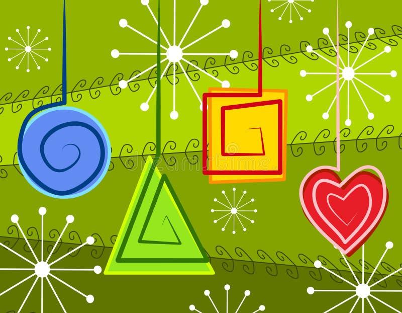 Ornamentos abstractos de la Navidad stock de ilustración