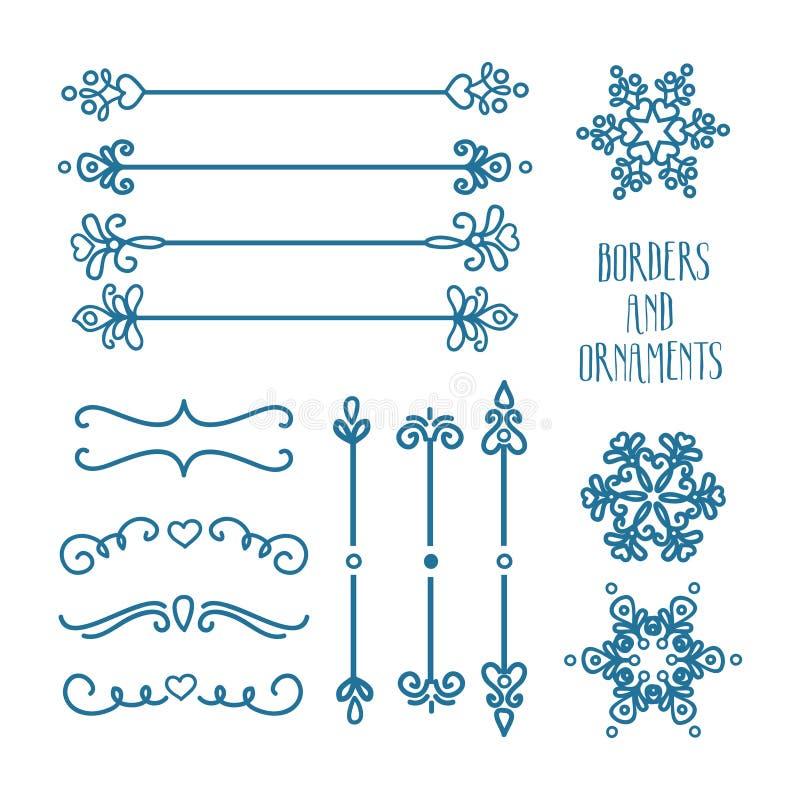 Ornamentos azules dibujados mano imagen de archivo libre de regalías