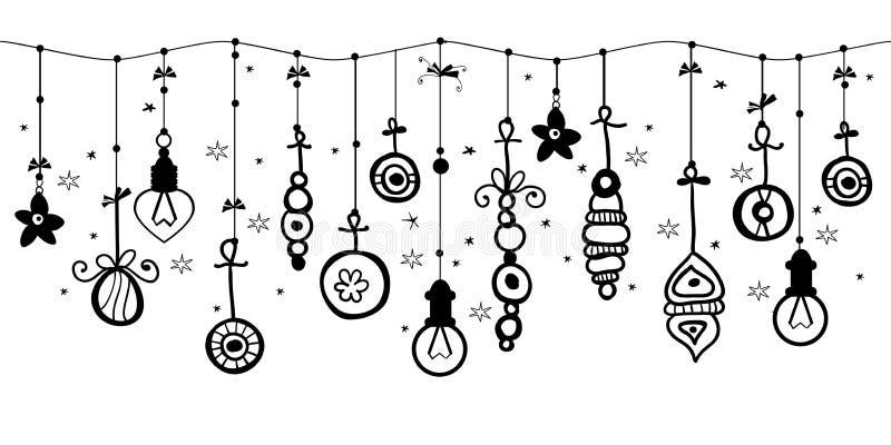 Ornamentos colgantes de la Navidad de la bola en la frontera ilustración del vector