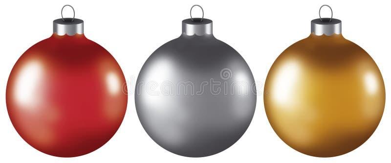 Ornamentos de la bola de la Navidad stock de ilustración