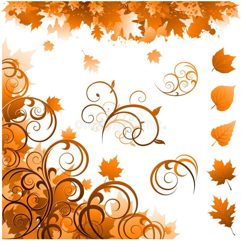 Ornamentos de la estación del otoño ilustración del vector