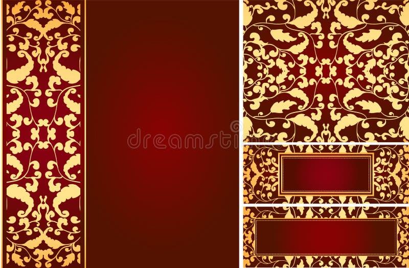 Ornamentos de la hoja de la vendimia ilustración del vector
