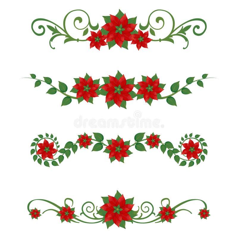 Ornamentos de la Navidad del Poinsettia ilustración del vector