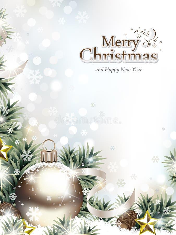 Ornamentos de la Navidad en la nieve con las ramas del abeto y los conos del pino ilustración del vector