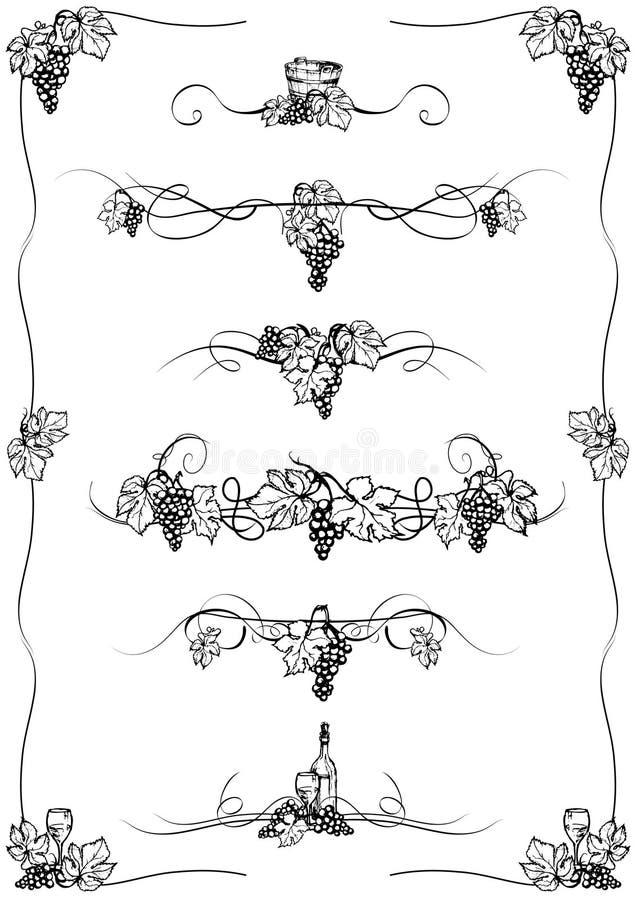 Ornamentos de la uva stock de ilustración