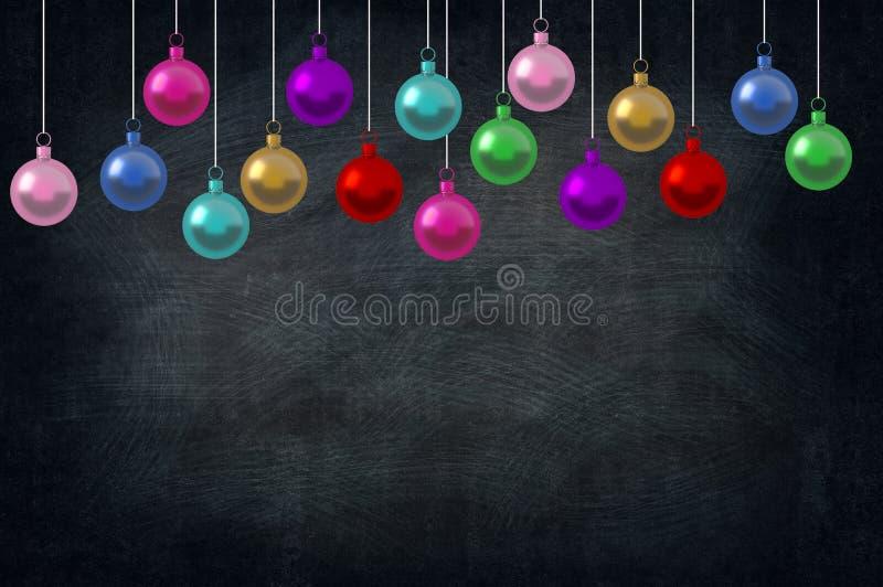Ornamentos de las bolas del día de fiesta de la Navidad en la clase de escuela en fondo de la pizarra represente el espacio de la ilustración del vector