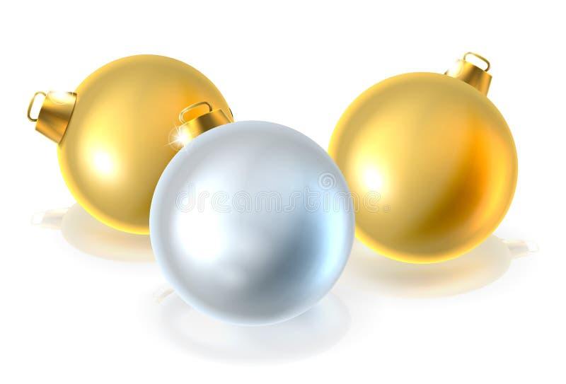 Ornamentos de las bolas de la chuchería de la Navidad del oro y de la plata stock de ilustración