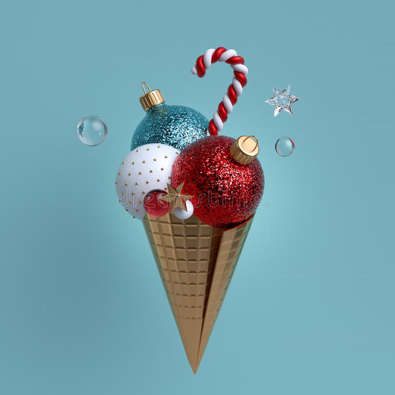 Ornamentos de Navidad 3d aislados en fondo azul Metáfora de helado Bolas de vidrio, cono dorado, estrellas de cristal y caña de c ilustración del vector