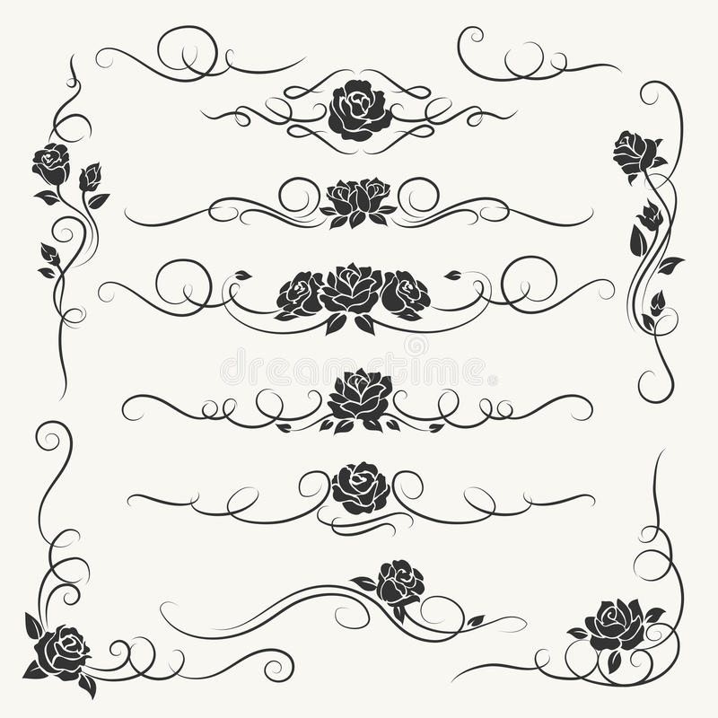 Ornamentos decorativos de las rosas del Flourish stock de ilustración
