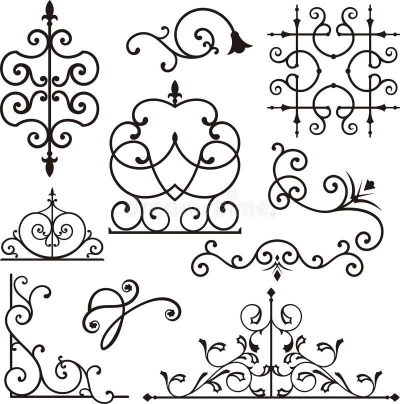 Ornamentos del hierro de Wrough ilustración del vector