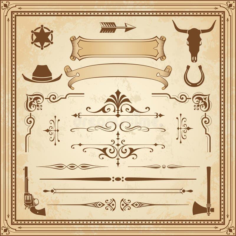 Ornamentos del oeste salvajes del vector stock de ilustración