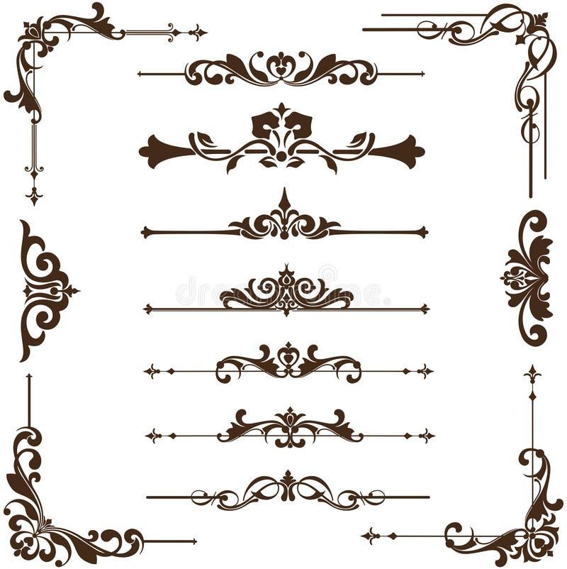 Ornamentos del vintage del vector, esquinas, fronteras ilustración del vector