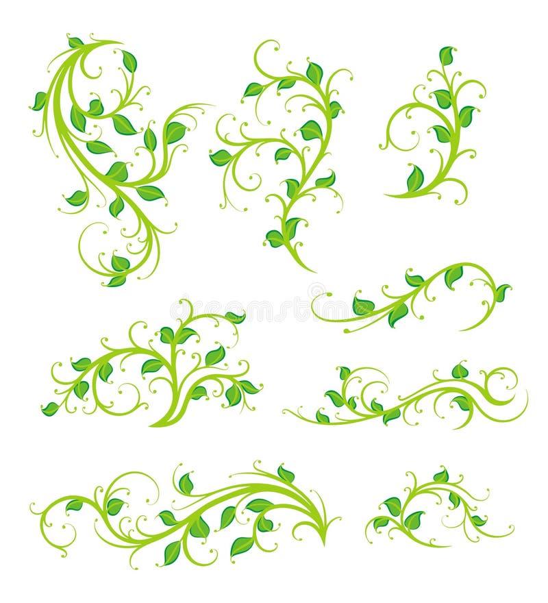 Ornamentos florales stock de ilustración
