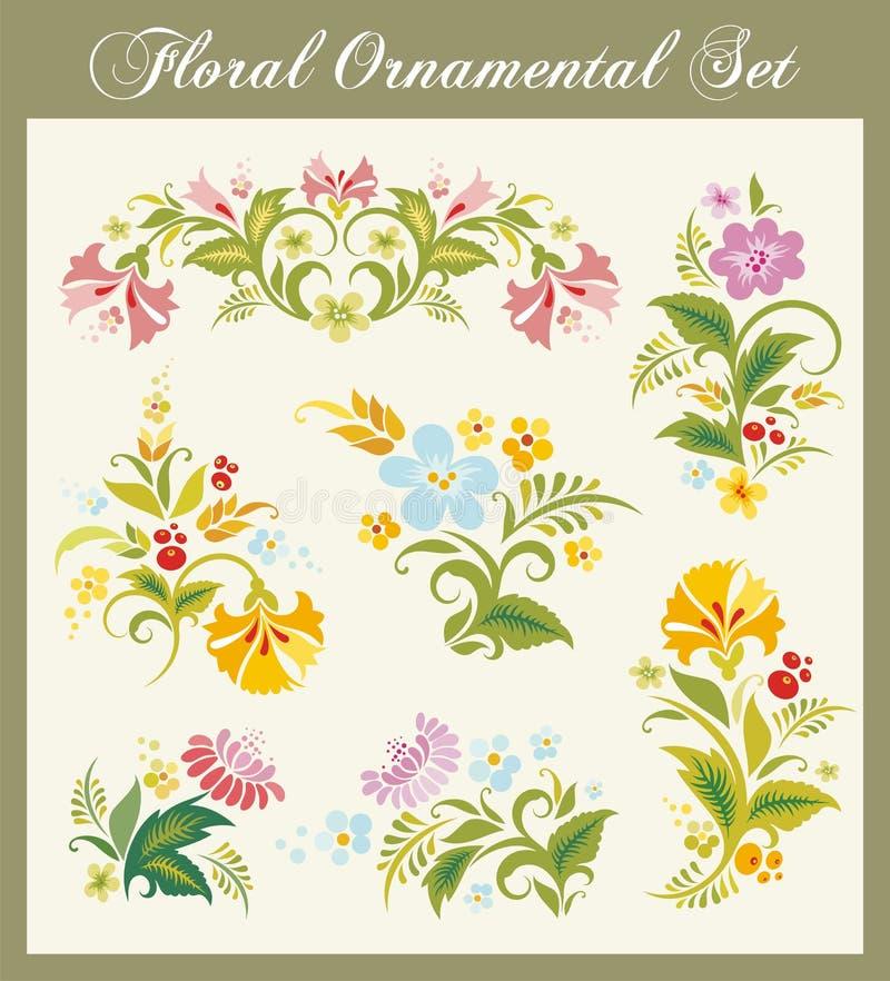 Ornamentos florales de la vendimia ilustración del vector