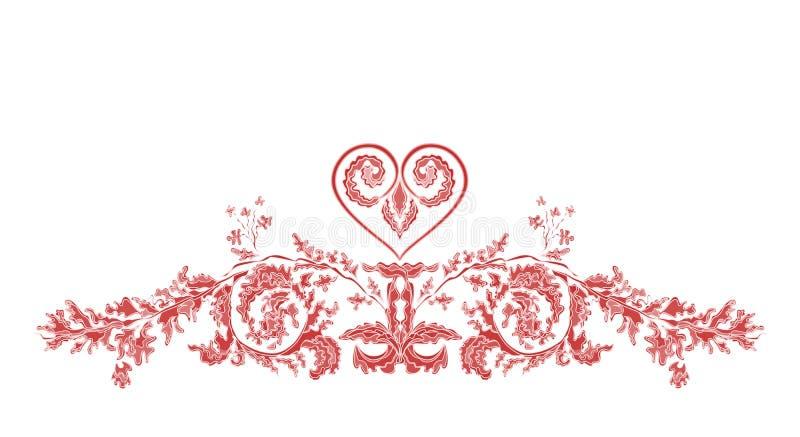 Ornamentos florales y corazón de Valentine Greeting libre illustration