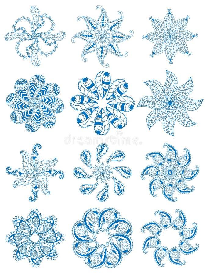 Ornamentos geométricos fijados stock de ilustración