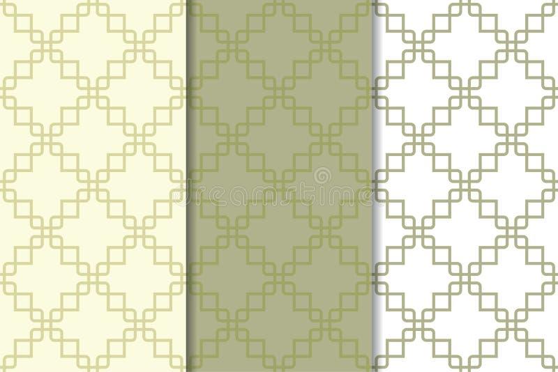 Ornamentos geométricos verdes olivas del verde y blancos Conjunto de modelos inconsútiles ilustración del vector